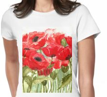 IN LOVE WITH BEAUTIFUL ROMANTIC RED POPPIES  Womens Fitted T-Shirt