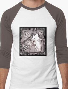 Meanwhile Back In Africa: Sample Doodle Giraffe Men's Baseball ¾ T-Shirt