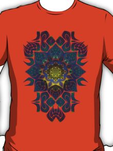 Psychedelic Fractal Manipulation Pattern on White T-Shirt