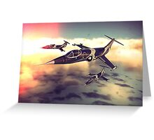 3 Starfighters flying over the ocean - retro Greeting Card