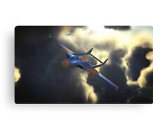 de haviiland Vampire breaking through the clouds at dusk Canvas Print