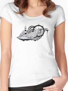 The whale in the waves Women's Fitted Scoop T-Shirt