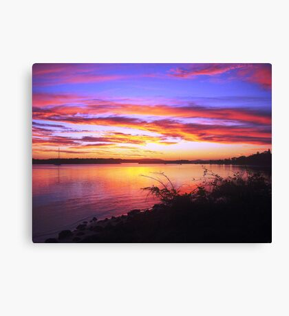 Burnt Red River Training Wall Sunset Canvas Print