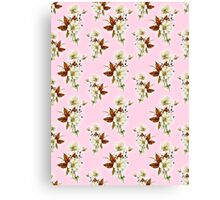 Pretty Floral Pattern on Rose Pink Background Canvas Print