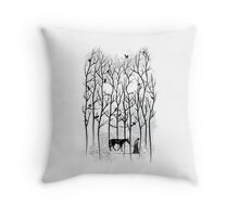 Jon Snow and Ghost Amongst Crows Throw Pillow