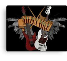 The Music Pitch... Rock'n'Roll and let your guitar, bass and drums rock! (Dark version) Canvas Print