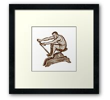 Athlete Exercising Vintage Rowing Machine Etching Framed Print