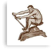Athlete Exercising Vintage Rowing Machine Etching Canvas Print