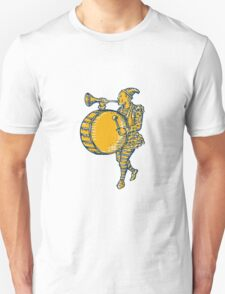 Clown With Trumpet and Drum Marching Etching T-Shirt