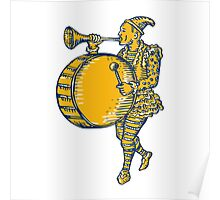 Clown With Trumpet and Drum Marching Etching Poster