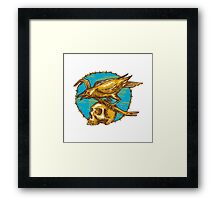 Crow Perching Crowbar Skull Barbed Wire Drawing Framed Print
