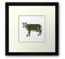 Dairy Cow Side View Woodcut Framed Print