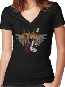 The Music Pitch... Rock'n'Roll and let your guitar, bass and drums rock! (Dark version) Women's Fitted V-Neck T-Shirt