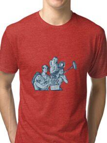 Film Crew Clapperboard Cameraman Soundman Drawing Tri-blend T-Shirt