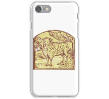 Sheep Side Pasture Tree Etching iPhone Case/Skin