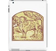 Sheep Side Pasture Tree Etching iPad Case/Skin