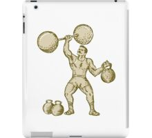 Strongman Lifting Barbell Kettlebell Etching iPad Case/Skin