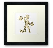 Strongman Lifting Barbell Kettlebell Etching Framed Print