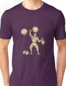 Strongman Lifting Barbell Kettlebell Etching Unisex T-Shirt