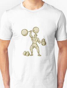 Strongman Lifting Barbell Kettlebell Etching T-Shirt