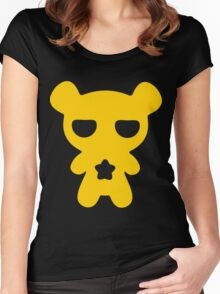 Lazy Bear Yellow Attention Women's Fitted Scoop T-Shirt