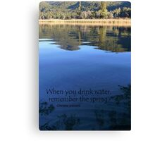 When you drink water, remember the spring. Chinese proverb Canvas Print