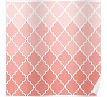 Vintage coral white classic Quatrefoil Pattern  Poster