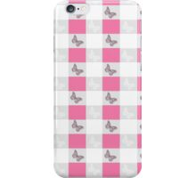 Vintage gray butterfly silhouette checker pattern iPhone Case/Skin