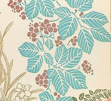 Shabby chic vintage teal brown floral pattern  by Maria Fernandes