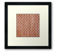 Vintage grunge orange and white trellis pattern  Framed Print