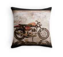 'Enjoy the Ride' Classic Motorcycle Throw Pillow