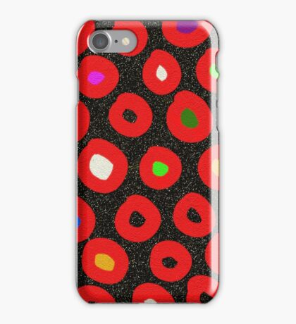 Red black abstract polka dots faux glitter iPhone Case/Skin