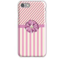 Vintage girly pink cute bow stripes pattern iPhone Case/Skin