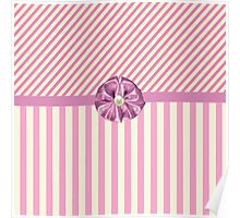 Vintage girly pink cute bow stripes pattern Poster