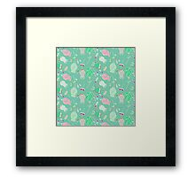vintage abstract pink green floral pattern Framed Print