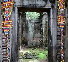 Colorful Door at Banteay Samré - Angkor, Cambodia. by Tiffany Lenoir