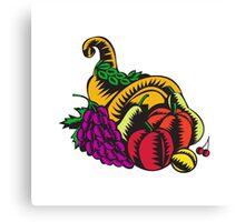 Cornucopia Fruit Harvest Woodcut Canvas Print