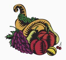 Cornucopia Fruit Harvest Woodcut by patrimonio