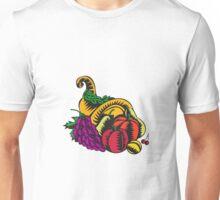 Cornucopia Fruit Harvest Woodcut Unisex T-Shirt