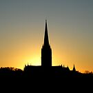 God's Grandeur: Salisbury Cathedral in silhouette at sunset, southern England by Philip Mitchell