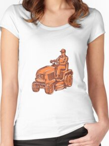 Gardener Ride-On Mower Etching Women's Fitted Scoop T-Shirt