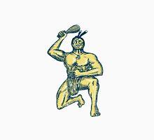 Maori Warrior Wielding Patu Kneeling Etching Unisex T-Shirt