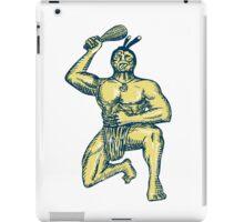 Maori Warrior Wielding Patu Kneeling Etching iPad Case/Skin