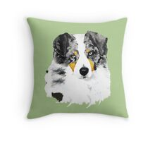 Australian Shepherd Blue Merle Dog Portrait Throw Pillow