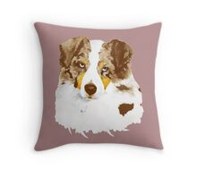 Red Merle Australian Shepherd Dog Portrait Throw Pillow
