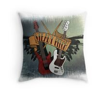 The Music Pitch... Rock'n'Roll and let your guitar, bass and drums rock! (slightly grunge version) Throw Pillow