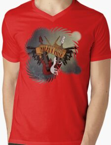 The Music Pitch... Rock'n'Roll and let your guitar, bass and drums rock! (gear rays version) Mens V-Neck T-Shirt