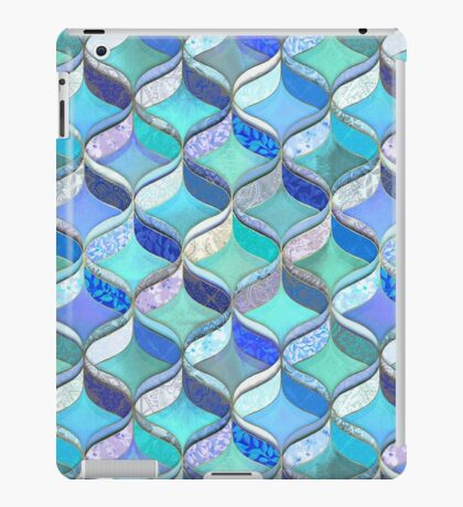 Patchwork Ribbon Ogee Pattern in Blues & Greens iPad Case/Skin