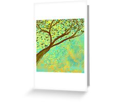 Decorative Tree Design in Aqua and Golden Greeting Card