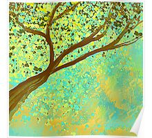 Decorative Tree Design in Aqua and Golden Poster